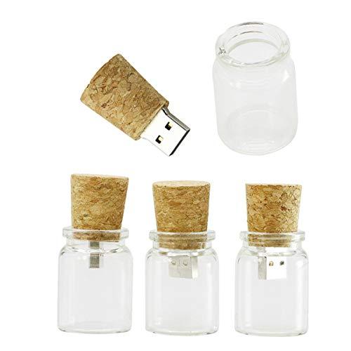 Unidad Flash USB de 4GB Botella de Cristal de Vidrio Modelo Pen Drive Memory Stick Thumb Drive USB 2.0 Pen Drive Dispositivo de Almacenamiento de Datos para PC (1 Pieza) - Civetman