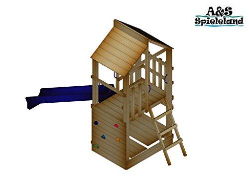Spielturm BASTI 2.0 Podesthöhe 120cm mit 2,4m Wellenrutsche