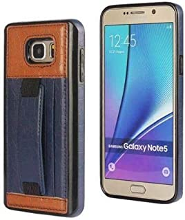 Fashion Card Slot Leather Hand Strap Case for samsung S6 edge Plus color blue