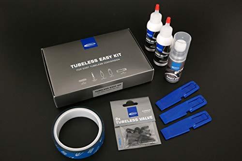 Schwalbe Kit 23 Im Set Felgenband, Tubeless-Ventile, Doc Blue, Easy Fit, Reifenheber Reifen, Schwarz, One Size