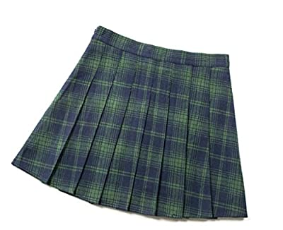 Naughtyspring Womens Plaid Skirts A-Line Vintage British Style Skirt Pleated Student skirts