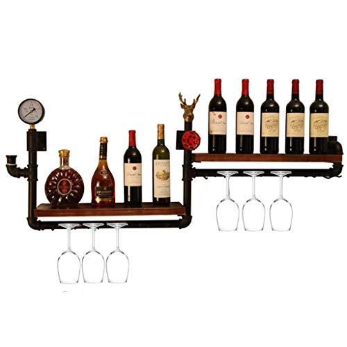MQJ Estante de Vino, Montado en la Pared, Bar, Restaurante, Tetera de Botella de Vino, Estante de Alenamiento de Plancha Metal de Metal en Layera en Bar Hogar Madera Colgando Vino Champagne