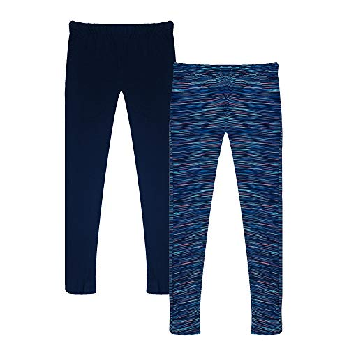 Popular Girl's Solid and Print Active Leggings - 2 Pack - Space Dye and Solid Navy - Medium (7/8)