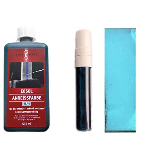 EOSOL Anreissfarbe blau Kombipack (500 ml Flasche + Dispenser (PEN) mit 30 ml Inhalt)