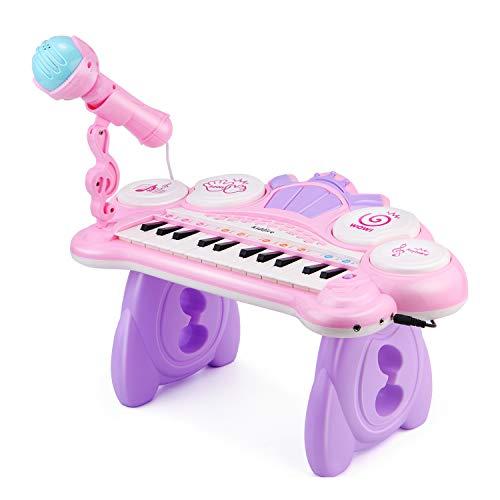 Reditmo Klavier Keyboard Spielzeug, Musikspielzeug Baby Lernspielzeug 24 Tasten mit Mikrofon, 4 Trommeln, MP3-Songs, für Baby, Kleinkind, Kinder, Mädchen ab 18M+ 1 2 3 4 Jahre, Pink
