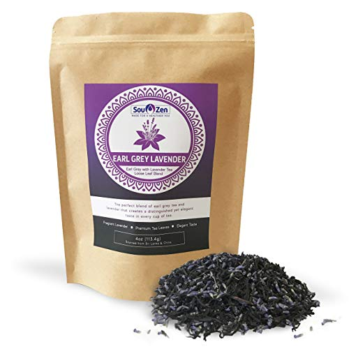 Sou Zen Earl Grey Lavender Tea Loose Leaf Blend 4oz (113g)   Premium Quality Tea Leaves and Flowers   Raw and Naturally Organic Ingredients   Energizing and Revitalizing Tea with No Additives