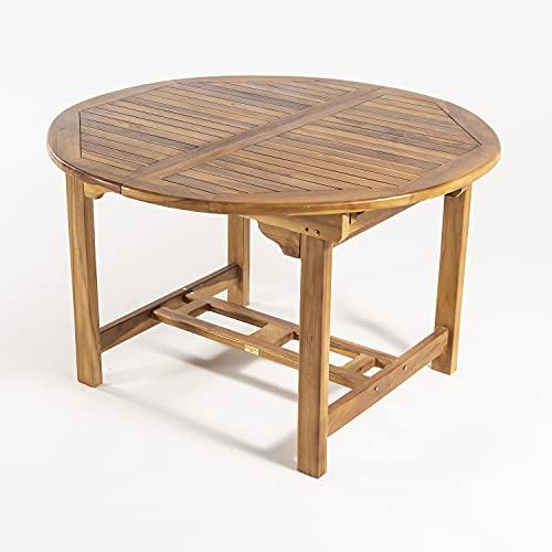 Mesa de jardín Extensible 120/180 cm de Madera Teca, Redonda, Madera Teca Grado A, Tamaño: 120/180x77 cm, Tratamiento al Agua aplicado