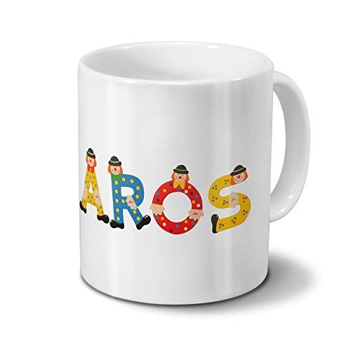 Tasse mit Namen Aros - Motiv Holzbuchstaben - Namenstasse, Kaffeebecher, Mug, Becher, Kaffeetasse - Farbe Weiß