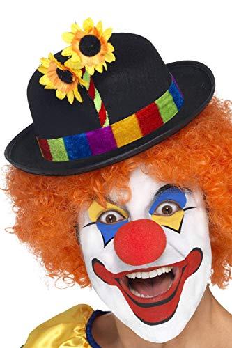 Smiffys Herren Clown Filz Hut mit buntem Band und Blumen, One Size, 24088