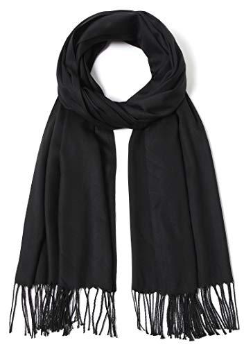 Pashmina Schal und Wraps große Schals für Damen, Hochzeit, Party, Brautschmuck, lange Mode Solider Schal mit Fransen - Schwarz - Einheitsgröße