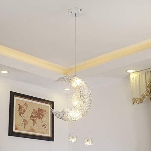 Plafondhanglamp, hanglampen, zilverkleurige sterren, maan kinderen, kamer verlichting, creatieve kroonluchter, restaurant, slaapkamer, warme verlichting, 320 x 370 mm