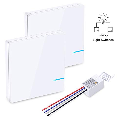 Wsdcam 3 Way Light Switch On Off Wireless Light Switch Kit - No Wires No Tearing Walls, Remote Control Light Switch for Ceiling Fan Lamp Light, Wall Switch and Receiver (2 Switch Buttons & 1 Receiver)