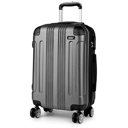 Kono Zwillingsrollen Koffer Trolley Reisekoffer Handgepäck Hartschale ABS Gepäck Spinner Rollenkoffer (Grau, M(56 cm - 40 L))