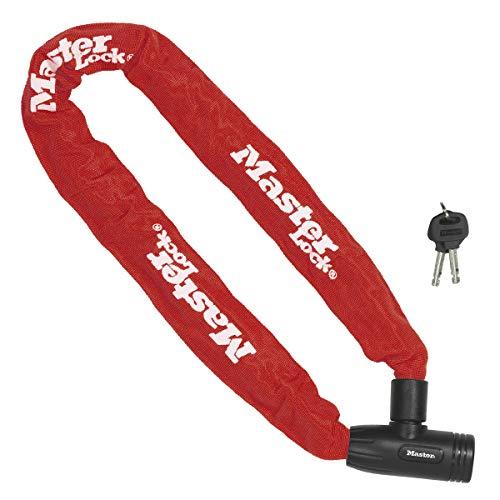 Master Lock Bike Chain Lock [Key] [90 cm Chain] [Red] 8391EURDPROCOLR - Ideal for Bike, Electric Bike, Mountain Bike, Road Bike, Folding Bike