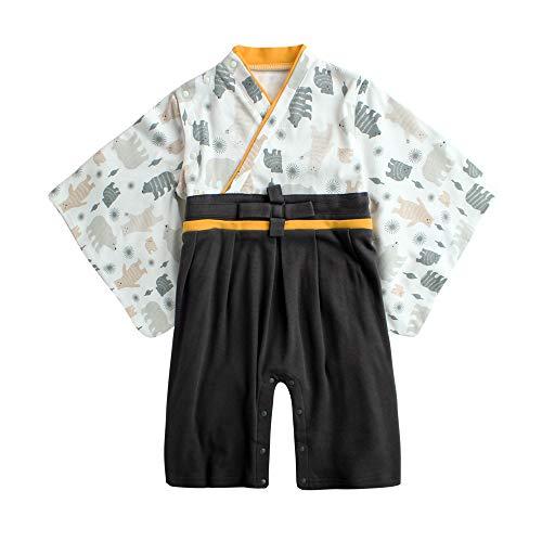 袴 ロンパース 男の子 衣装 ベビー服 赤ちゃん 和装 和服 フォーマル カバーオール 出産祝い (こぐま, 80cm)