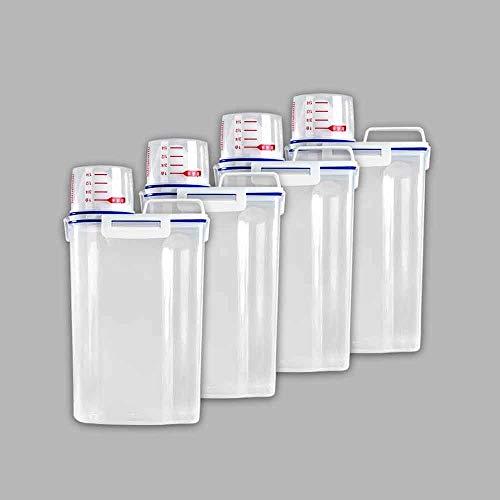 LKYBOA 4 PC Alimentación Caja de plástico Seca Transparente envase de alimento con Pour Frijoles Cereal de arroz Tapas 2 L de Cocina Botellas Tarros Suministros
