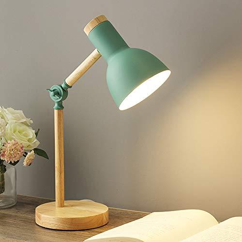 Chao Zan lampada da scrivania in legno dal design moderno - E27 - con supporto - lampada da tavolo retrò con braccio snodato regolabile - lampada da comodino vintage-lampada da studio-verde