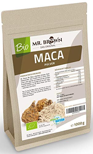 Mr. Brown BIO Maca poeder van Peru | Premium kwaliteit | gevuld in Duitsland | uit gecontroleerde biologische teelt | zonder additieven & zonder conserveringsmiddelen 1000 GR bruin