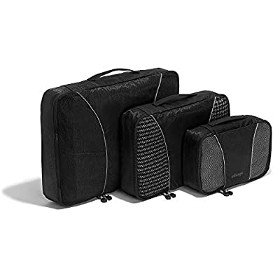 eBags Classic Packing Cubes for Travel - 3pc Set - (Black)