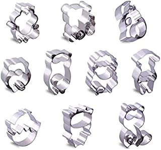 Sinrier Animal Cookie Cutter Set - 10 PCS - Squirrels, cows, raccoons, dogs, chicks, sheep, hamsters, pirates, bears, and civet cats - Stainless Steel