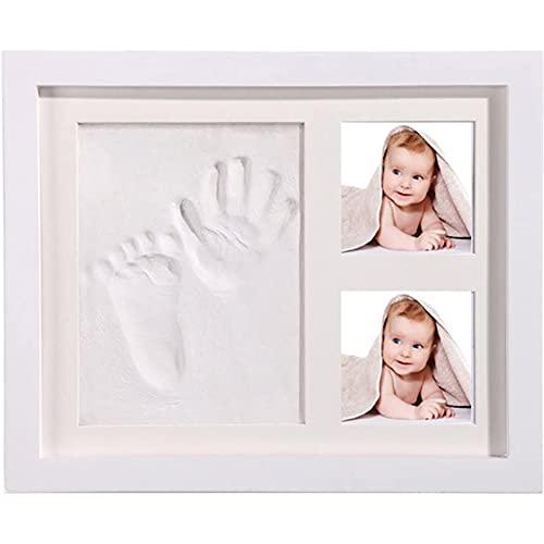 StillCool DIY Bebé Handprint y Marco de Huella Inkpad de Fotos Regalos Babyparty Seguros y Elegante Blanco de Madera Sólida para Recién Nacidos/Bebé Regalo