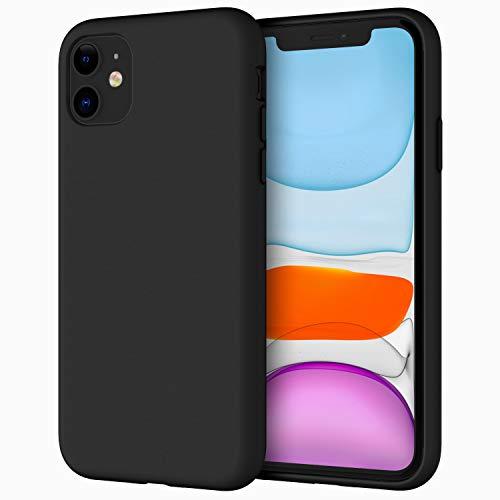 JETech Silicone Hülle für iPhone 11 (2019) 6,1-Zoll, seidigem Ganzkörper-Schutzhülle Hülle Cover, mit weichem Mikrofaser-Innenfutter stoßfestes Abdeckung (Schwarz)