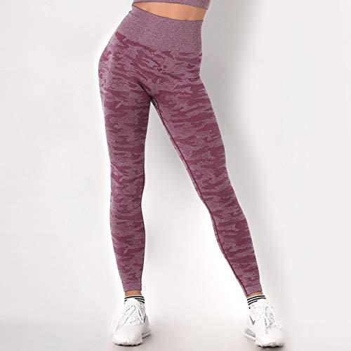 Leggings Mujer Mallas De Deporte,Dark Purple Camouflage Design High Waist Tummy Control Seamless Push Up Bubble Butt Tight Pantalones Cómodos Pantalones Elásticos Para Deportes Fitness Running Entr