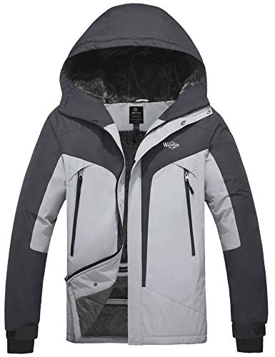 Wantdo Men's Warm Snowboarding Jacket Winter Hooded Windproof Sportswear Grey M