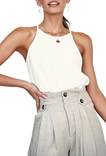 LouKeith Womens Tops Sleeveless Halter Racerback Summer Casual Shirts Basic Tee Shirts Cami Tank Tops Beach Blouses Cream M