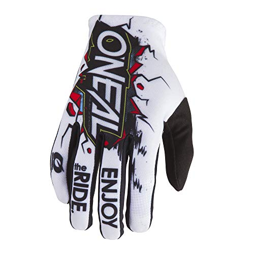 O'NEAL | Fahrrad-& Motocross-Handschuhe | Kinder | MX MTB DH FR Downhill Freeride | Langlebige, Flexible Materialien, belüftete Handoberseite | Matrix Youth Glove Villain | Weiß Multi | Größe L