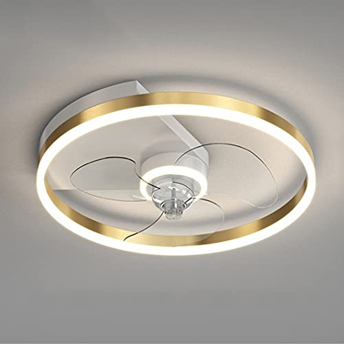 SOUTHSHINE LED Ventilatore da Soffitto con Luce, Ultra-Silenzioso con 6 velocità del Vento con Telecomando 3 Colori Regolabili, Moderno Creativo Camera da Letto Soggiorno Lampada,Gold3