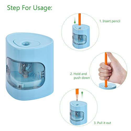 Electric Pencil Sharpener, USB/Battery Dual Power Mode, Heavy-duty Helical Blade to Fast Sharpen, Auto Stop for No.2/Colored Pencils(6-8mm), Suitable for Kids, Teachers, Classroom, Office (blue) Photo #3