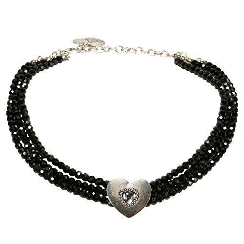 Alpenflüstern Trachten-Perlen-Kropfkette Funkelherz - Elegante Trachtenkette mit Trachtenherz - nostalgischer Damen-Trachtenschmuck, Dirndlkette schwarz DHK212