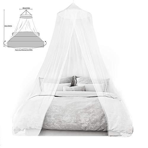 Mosquitero para Camas, Universal White Dome Malla de mosquitera, Suave y Cómodo, Adecuado para Camas Individuales y Dobles (Blanco)
