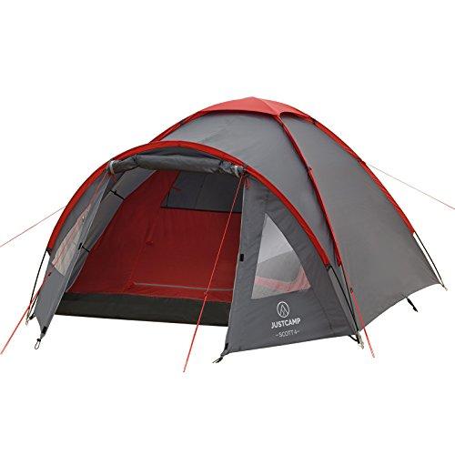 JUSTCAMP Campingzelt Scott 4, mit Vorraum; Iglu-Zelt für 4 Personen (doppelwandig) - grau