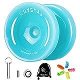 MAGICYOYO K2 Plus Crystal Yoyo for Kids, Dual Purpose Responsive Yo-yo for Beginner,Replacement Unresponsive Bearing for Intermediate Advanced,with 5 Yoyo Strings, Bag, Bearing Remover(Sky Blue)