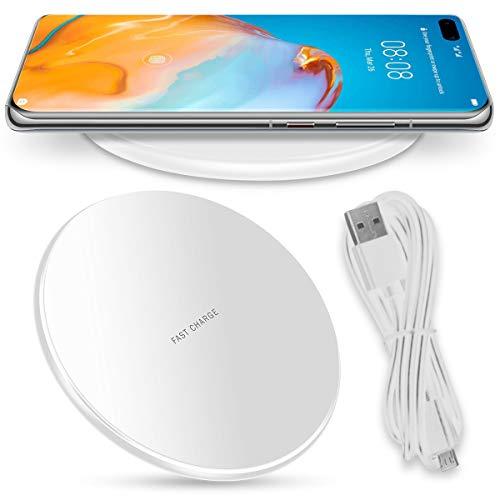 Nauci QI Wireless Ladegerät kompatibel für Huawei P40 Pro Ladestation Kabellos Charger Induktives Universal Schnellladegerät, Farben:Weiß