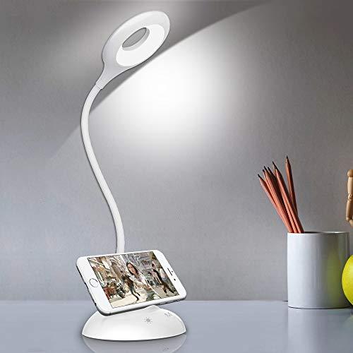 solawill LED Schreibtischlampe, Dimmbare Nachttischlampe für Kinder mit Touch Control USB-Ladeanschluss 5 Helligkeitsstufen & 5 Farb Augenschutz Tischleuchte Energieeffiziente Leselampe Büro Studieren