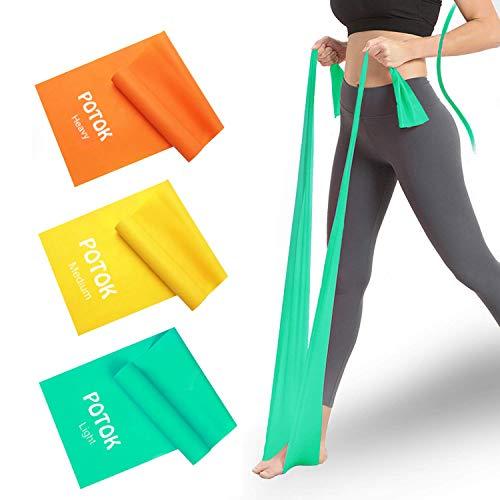 Potok Bandas de Resistencia, Bandas de Fitness 1,5 Metros para Pilates, Yoga, Entrenamiento de Fuerza, Fisioterapia y rehabilitación, para Hombres y Mujeres, 3Pack(Green+Yellow+Orange)