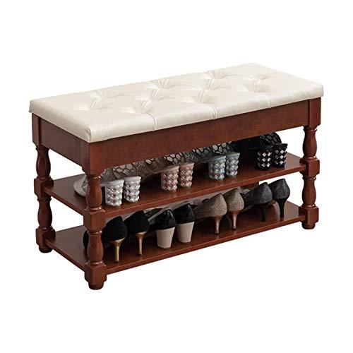 Productos para el hogar Zapatero Banco de entrada Organizador de zapatos de 3 niveles Estante de almacenamiento de madera con cojín para zapatos Taburete moderno para dormitorio (Color: Rojo Tamaño