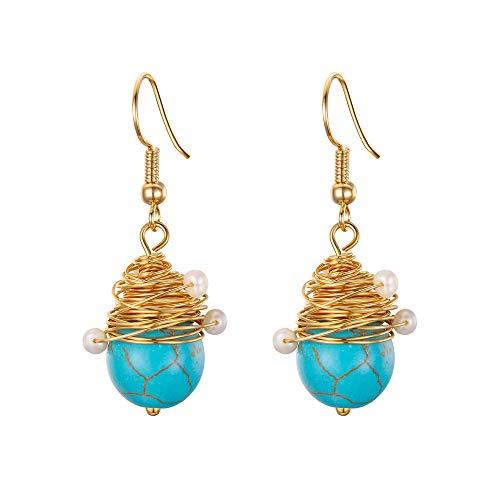 EVER FAITH Pendientes colgantes estilo Bali estilo vintage, color azul turquesa con alambre para mujer, tono dorado