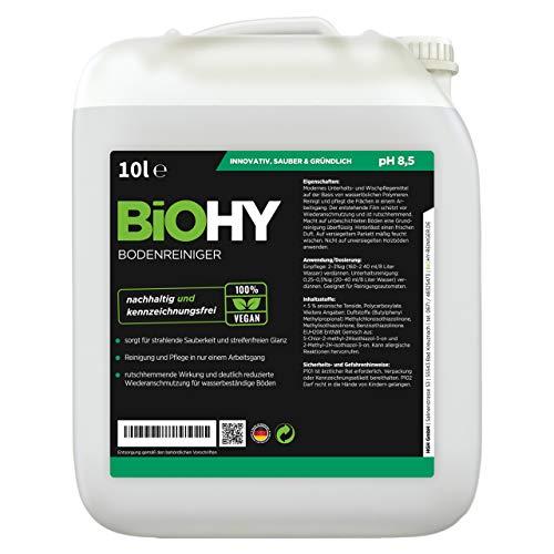 BIOHY Bodenreiniger (1 x 10 Liter Kanister) | Konzentrat für alle Reinigungsgeräte und alle Hartböden | Angenehmer Geruch und streifenfreie Reinigung