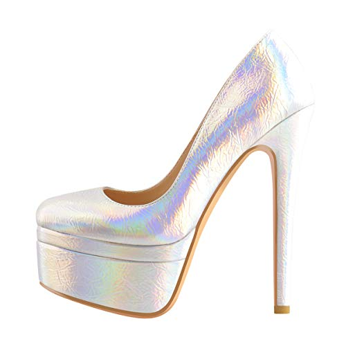 Only maker Damen Plateau High Heels Pumps Stiletto Absatzschuhe Elegant für Party Fotoshooting Hochzeit Mirror-Optik Silber 45 EU