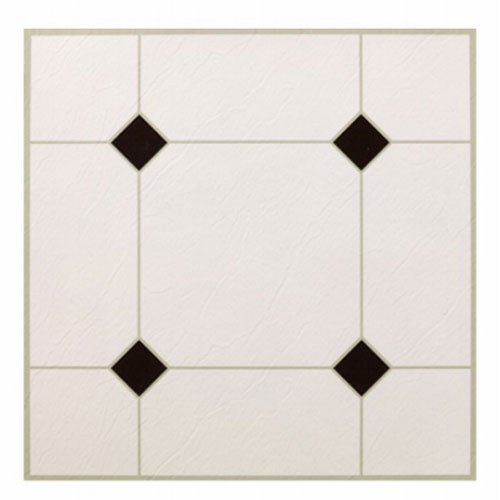 MAX KD0309 5Th Avenue Black & White Peel & Stick Vinyl Floor Tile, 12 x 12'