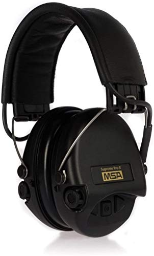 MSA Sordin SOR75302-X/L-02 Supreme Pro X - Standard Edition - Electronic Earmuff with black leather band, black cups and foam seals fitted