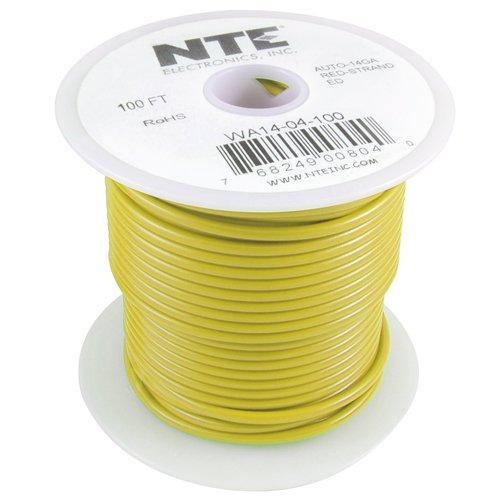 NTE Electronics WA18-04-40 Hook Up Wire, Automotive, Type 18 Gauge, Stranded, 40' Length, Yellow