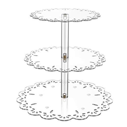 Hemoton 3 Etagen Elegante Cupcake StänderDauerhaft Anti-RutschAcryl Tortenständer zum Babydusche Hochzeit Geburtstag Party