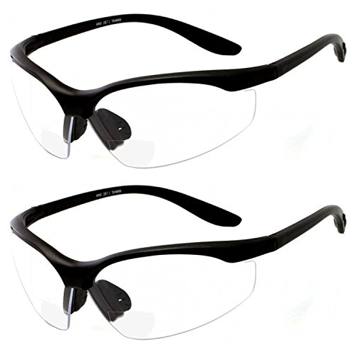 2 Pair Safety Glasses ANSI Z87 Impact Resistant Non-Slip Wrap Around Clear Lens Bifocal Reading Glasses Diopter/+2.00