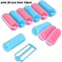 36 Piezas de Rulos de Pelo de Esponja Bigudí de Espuma Herramienta de Rizado para Peinado (Rosa y Azul)