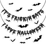 LOOPES Banner di Halloween,It's Frickin Bats I Love Halloweencon Adesivi Pipistrello 12 Pe...